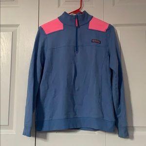 Blue Pink Quarter Zip Vineyard Vines Sweater